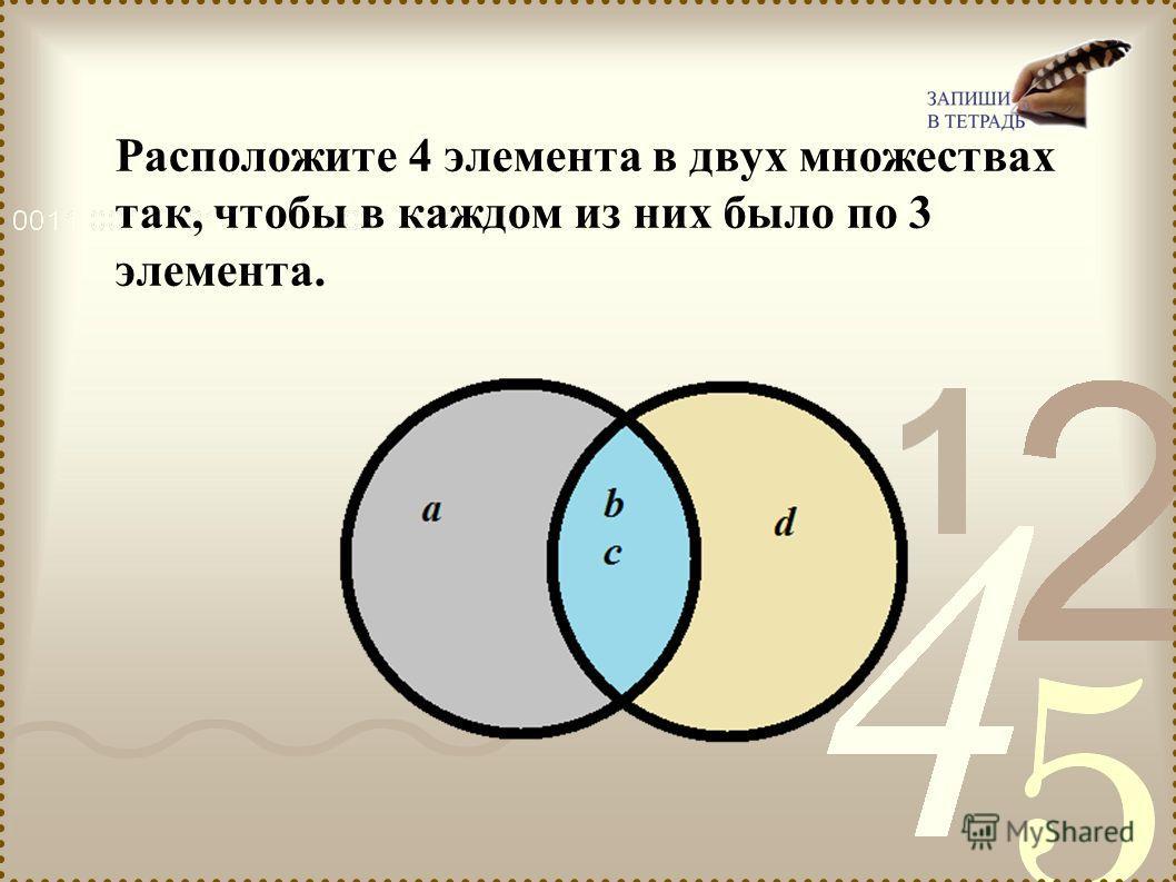Расположите 4 элемента в двух множествах так, чтобы в каждом из них было по 3 элемента.