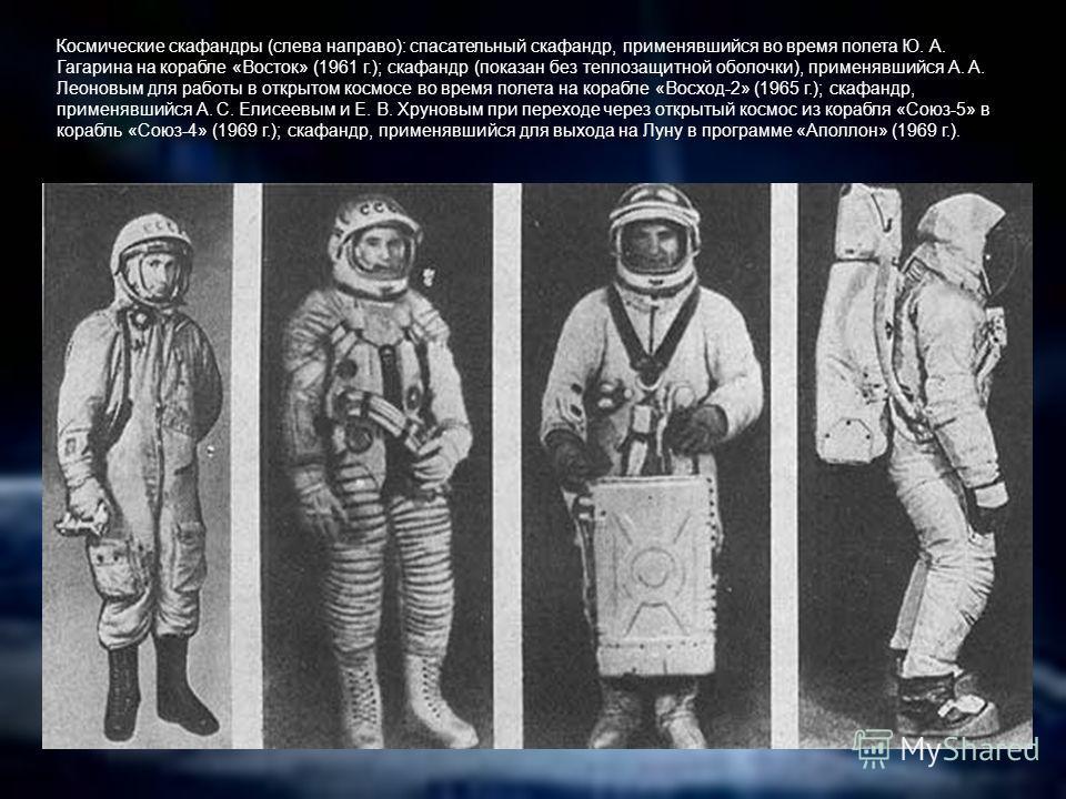 Космические скафандры (слева направо): спасательный скафандр, применявшийся во время полета Ю. А. Гагарина на корабле «Восток» (1961 г.); скафандр (показан без теплозащитной оболочки), применявшийся А. А. Леоновым для работы в открытом космосе во вре