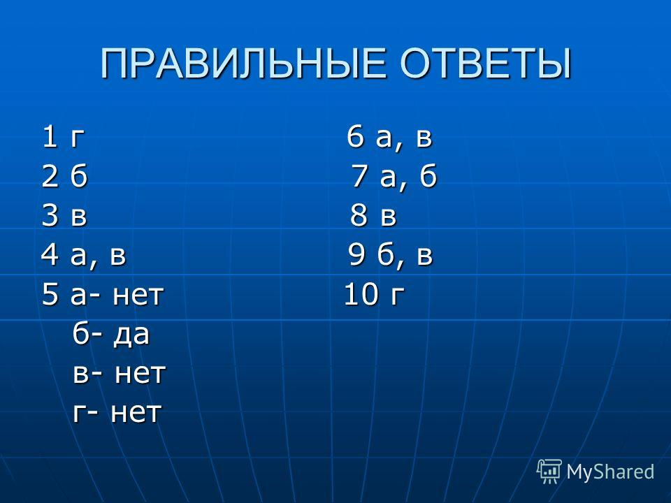 ПРАВИЛЬНЫЕ ОТВЕТЫ 1 г 6 а, в 2 б 7 а, б 3 в 8 в 4 а, в 9 б, в 5 а- нет 10 г б- да б- да в- нет в- нет г- нет г- нет