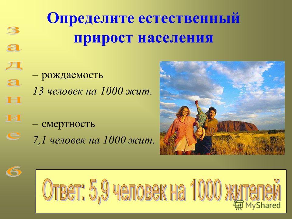 Определите естественный прирост населения –рождаемость 13 человек на 1000 жит. –смертность 7,1 человек на 1000 жит.