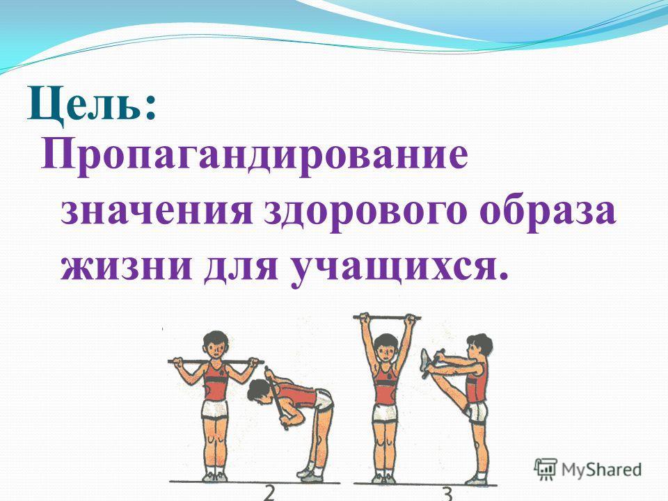 Цель: Пропагандирование значения здорового образа жизни для учащихся.