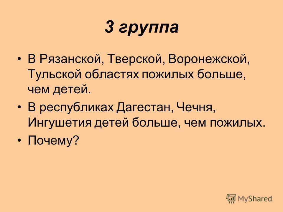 3 группа В Рязанской, Тверской, Воронежской, Тульской областях пожилых больше, чем детей. В республиках Дагестан, Чечня, Ингушетия детей больше, чем пожилых. Почему?