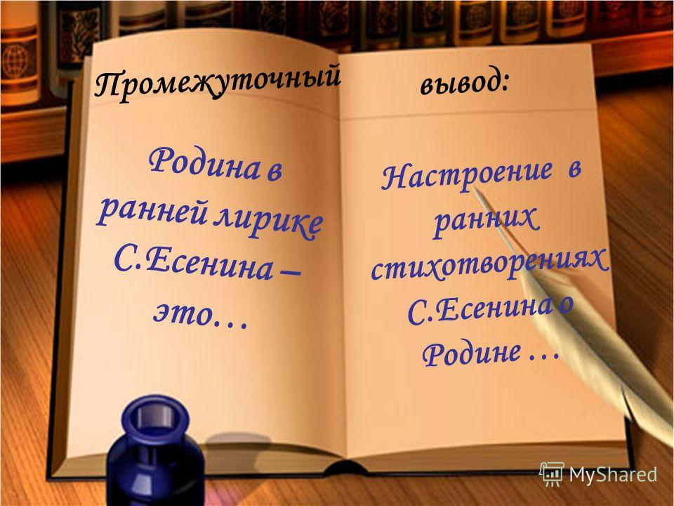Промежуточный вывод: Родина в ранней лирике С.Есенина – это… Настроение в ранних стихотворениях С.Есенина о Родине …