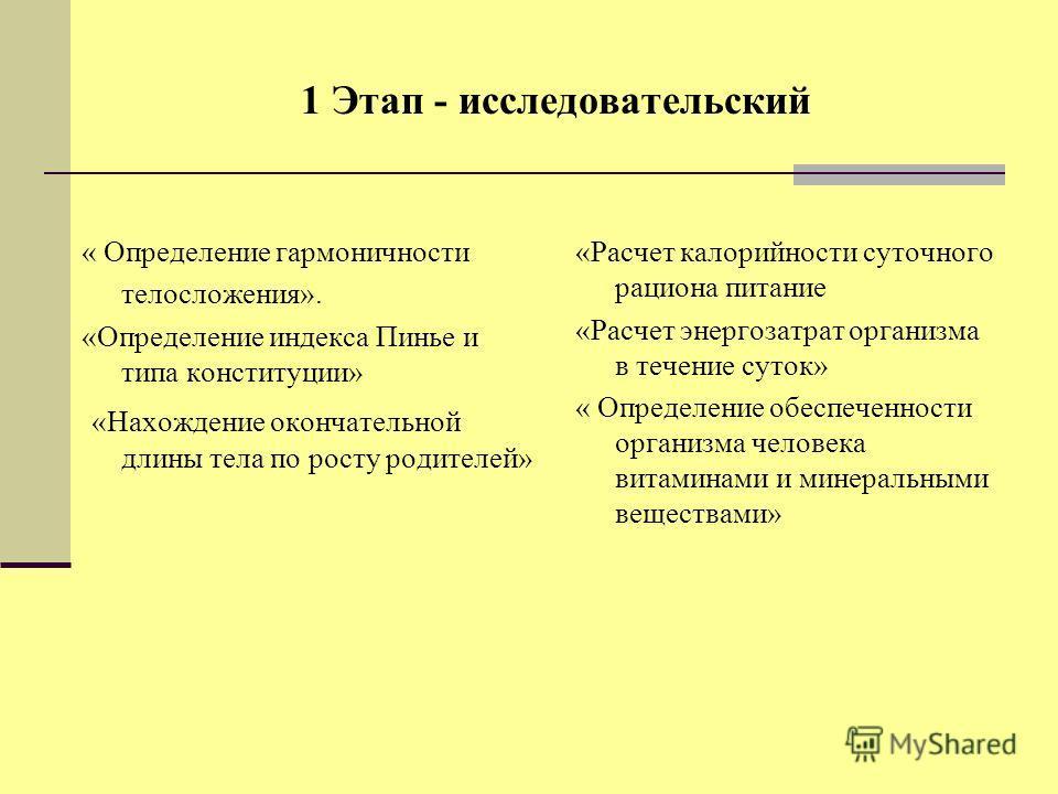 1 Этап - исследовательский « Определение гармоничности телосложения». «Определение индекса Пинье и типа конституции» «Нахождение окончательной длины тела по росту родителей» «Расчет калорийности суточного рациона питание «Расчет энергозатрат организм