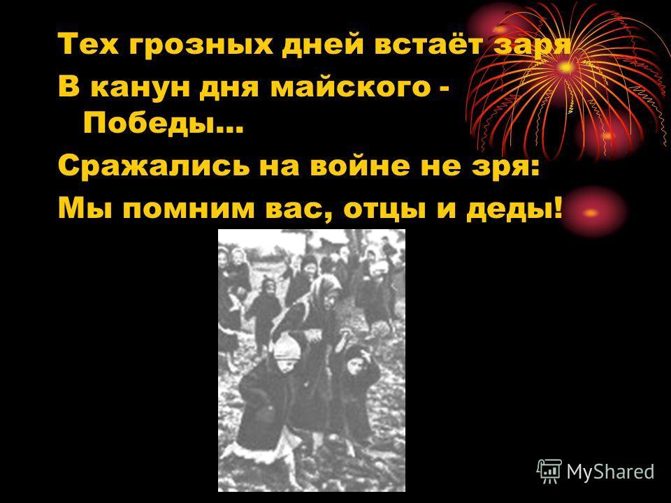 Тех грозных дней встаёт заря В канун дня майского - Победы... Сражались на войне не зря: Мы помним вас, отцы и деды!