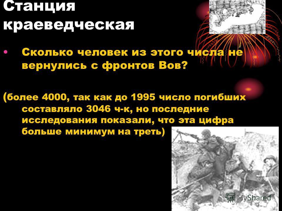 Станция краеведческая Сколько человек из этого числа не вернулись с фронтов Вов? ( более 4000, так как до 1995 число погибших составляло 3046 ч-к, но последние исследования показали, что эта цифра больше минимум на треть)