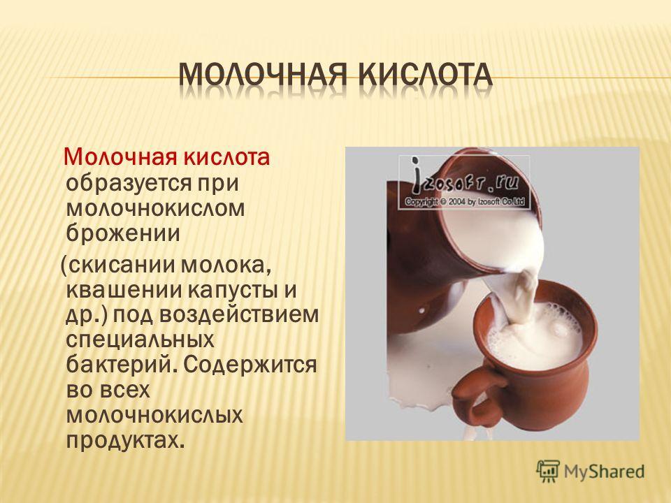 Молочная кислота образуется при молочнокислом брожении (скисании молока, квашении капусты и др.) под воздействием специальных бактерий. Содержится во всех молочнокислых продуктах.