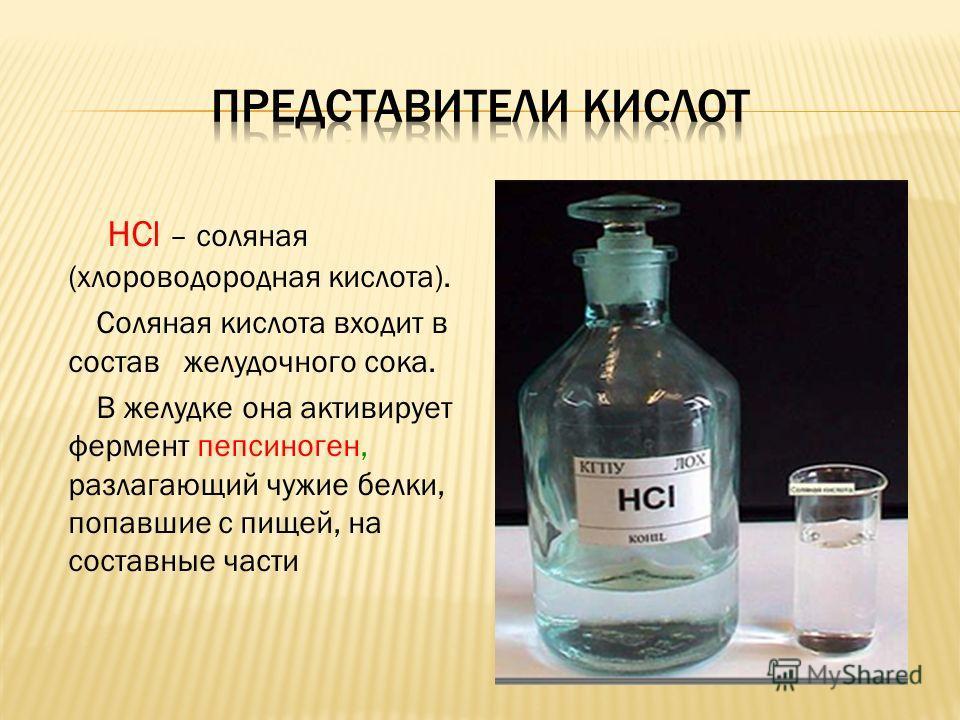 HCl – соляная (хлороводородная кислота). Соляная кислота входит в состав желудочного сока. В желудке она активирует фермент пепсиноген, разлагающий чужие белки, попавшие с пищей, на составные части
