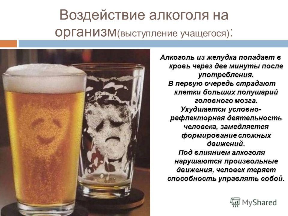 Воздействие алкоголя на организм (выступление учащегося) : Алкоголь из желудка попадает в кровь через две минуты после употребления. В первую очередь страдают клетки больших полушарий головного мозга. В первую очередь страдают клетки больших полушари