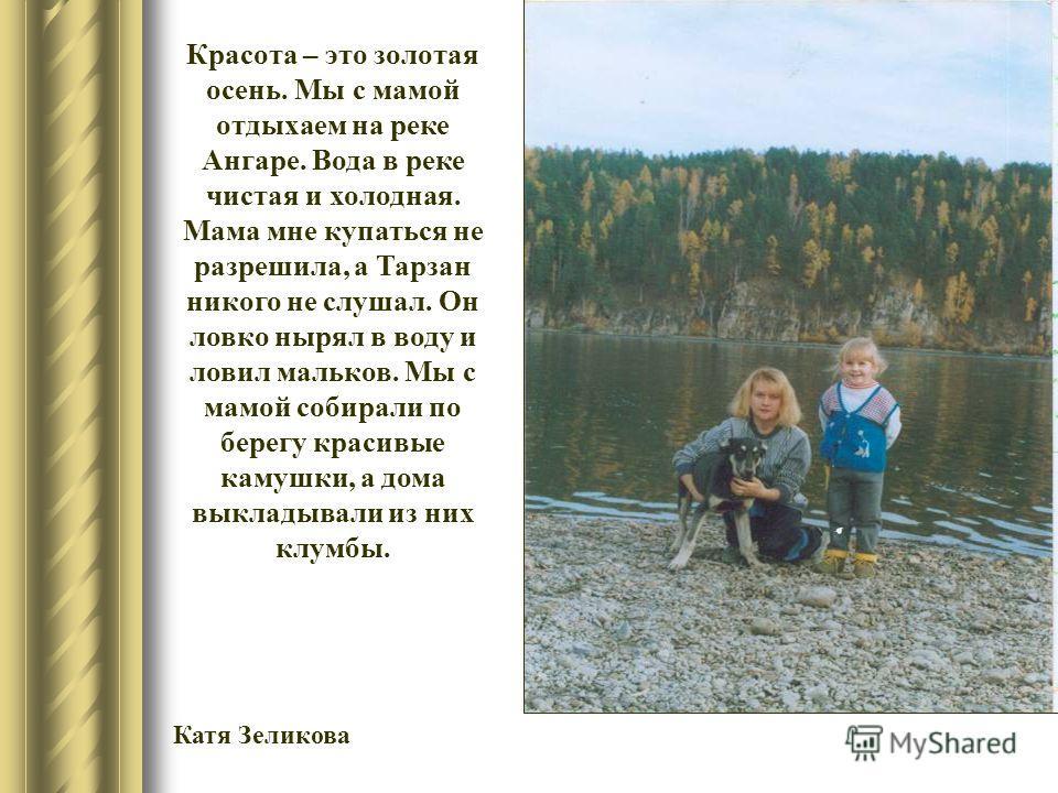 Красота – это золотая осень. Мы с мамой отдыхаем на реке Ангаре. Вода в реке чистая и холодная. Мама мне купаться не разрешила, а Тарзан никого не слушал. Он ловко нырял в воду и ловил мальков. Мы с мамой собирали по берегу красивые камушки, а дома в