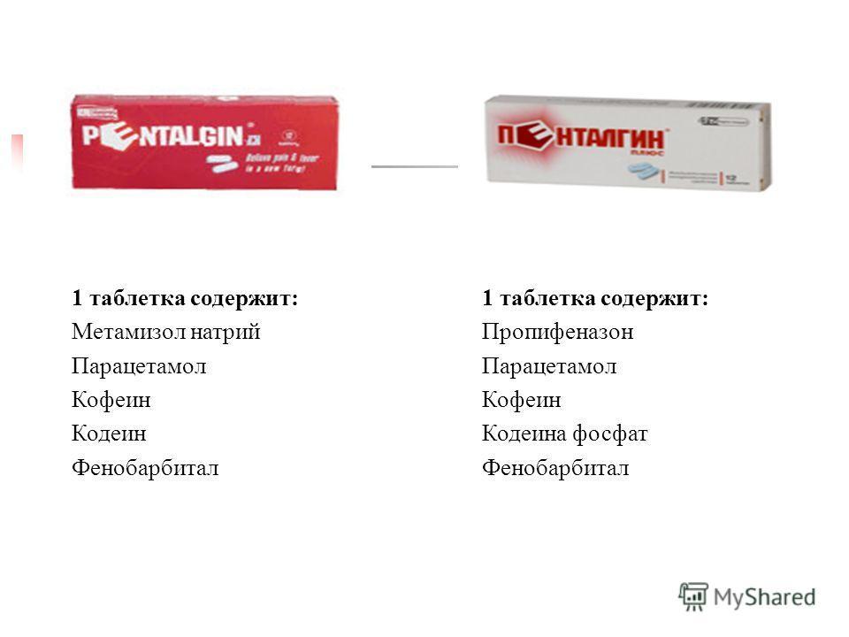 1 таблетка содержит: Метамизол натрий Парацетамол Кофеин Кодеин Фенобарбитал 1 таблетка содержит: Пропифеназон Парацетамол Кофеин Кодеина фосфат Фенобарбитал
