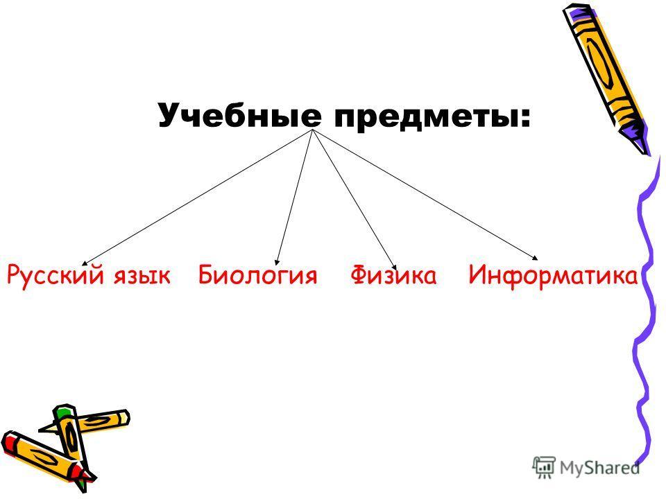 Учебные предметы: Русский язык Биология Физика Информатика