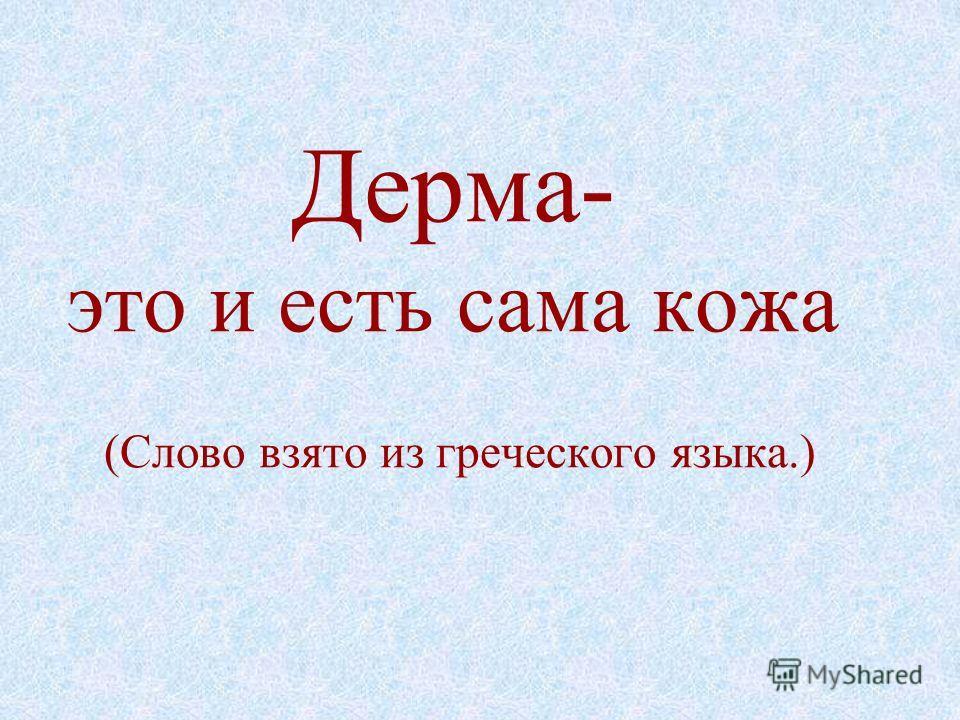 Дерма- это и есть сама кожа (Слово взято из греческого языка.)