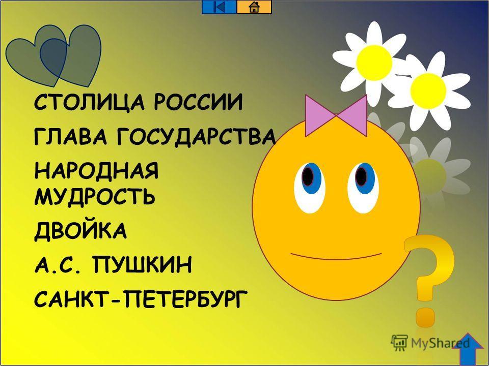 СТОЛИЦА РОССИИ ГЛАВА ГОСУДАРСТВА НАРОДНАЯ МУДРОСТЬ ДВОЙКА А.С. ПУШКИН САНКТ-ПЕТЕРБУРГ