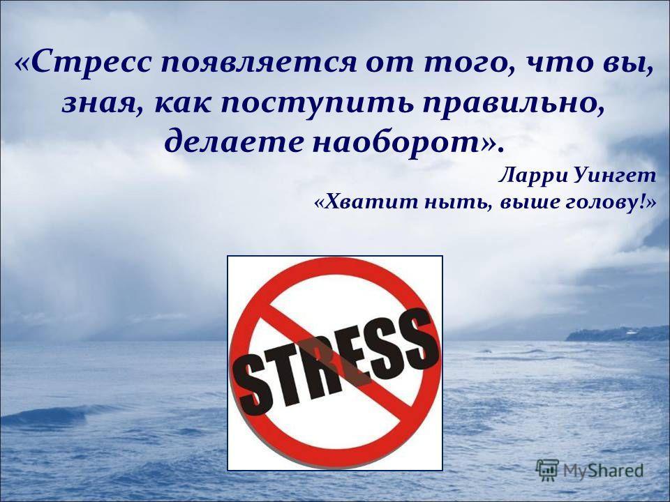 «Стресс появляется от того, что вы, зная, как поступить правильно, делаете наоборот». Ларри Уингет «Хватит ныть, выше голову!»