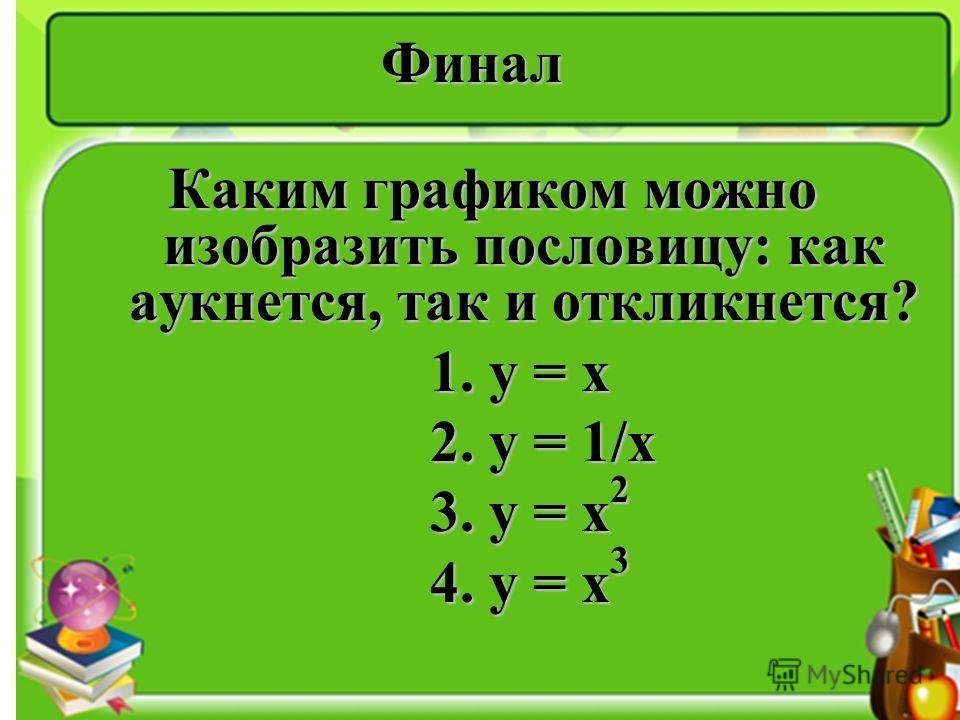 Финал Каким графиком можно изобразить пословицу: как аукнется, так и откликнется? 1. y = x 1. y = x 2. y = 1/x 2. y = 1/x 3. y = x 2 3. y = x 2 4. y = x 3 4. y = x 3