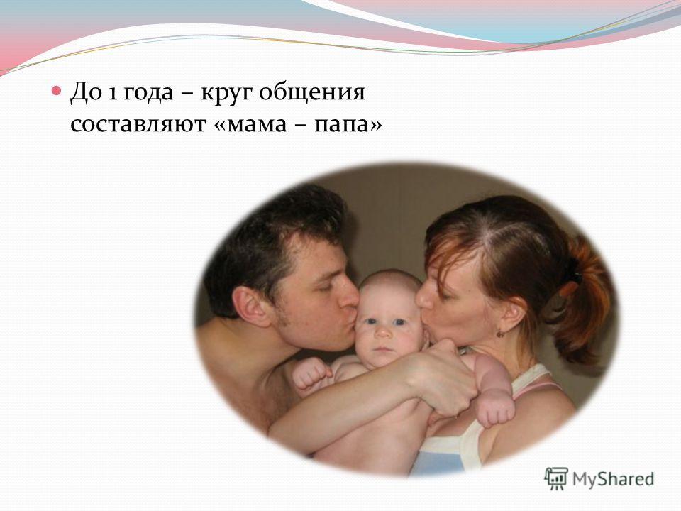До 1 года – круг общения составляют «мама – папа»
