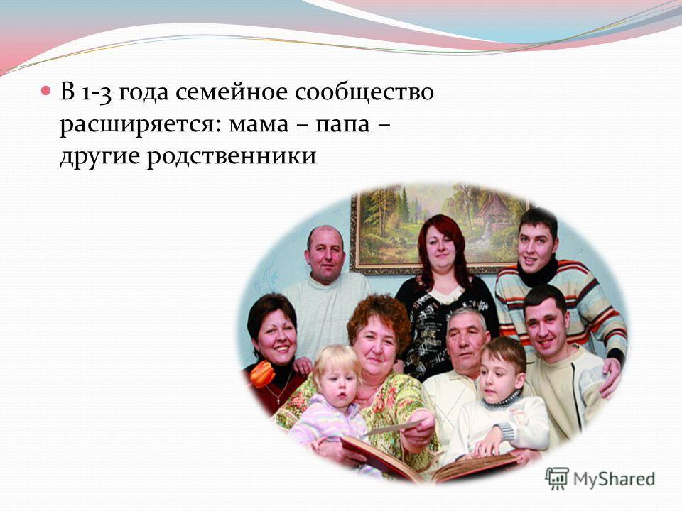 В 1-3 года семейное сообщество расширяется: мама – папа – другие родственники