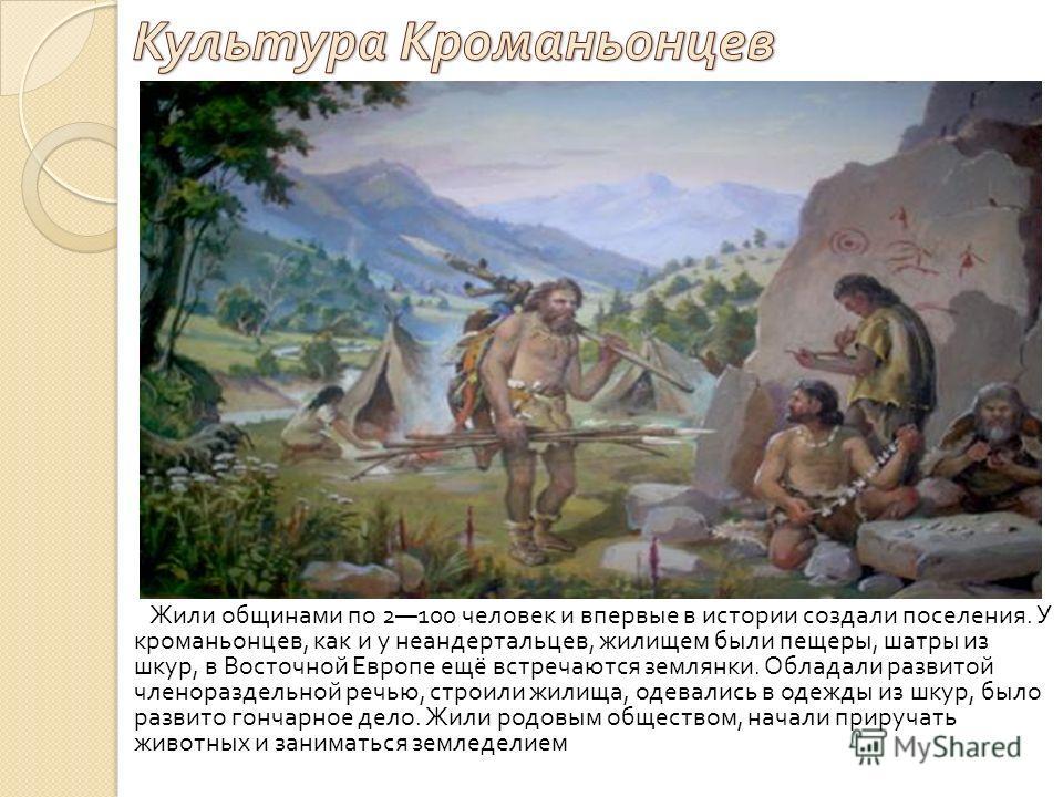 Жили общинами по 2100 человек и впервые в истории создали поселения. У кроманьонцев, как и у неандертальцев, жилищем были пещеры, шатры из шкур, в Восточной Европе ещё встречаются землянки. Обладали развитой членораздельной речью, строили жилища, оде