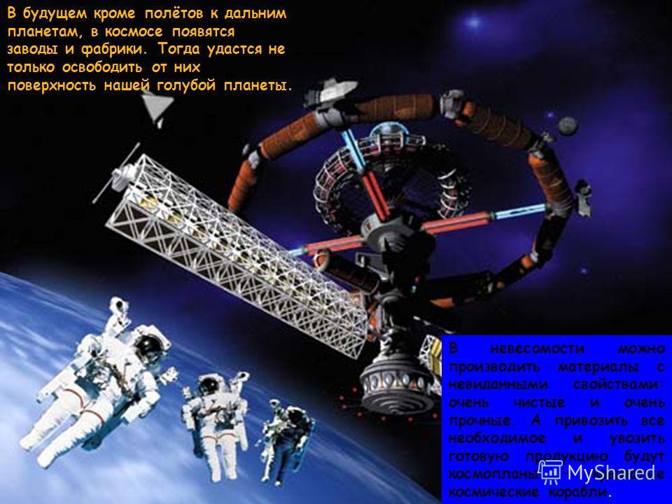 В невесомости можно производить материалы с невиданными свойствами: очень чистые и очень прочные. А привозить все необходимое и увозить готовую продукцию будут космопланы – крылатые космические корабли. В будущем кроме полётов к дальним планетам, в к