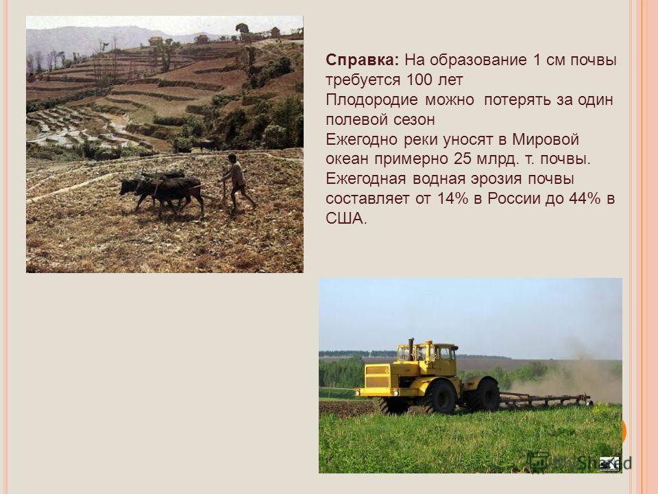 Справка: На образование 1 см почвы требуется 100 лет Плодородие можно потерять за один полевой сезон Ежегодно реки уносят в Мировой океан примерно 25 млрд. т. почвы. Ежегодная водная эрозия почвы составляет от 14% в России до 44% в США.
