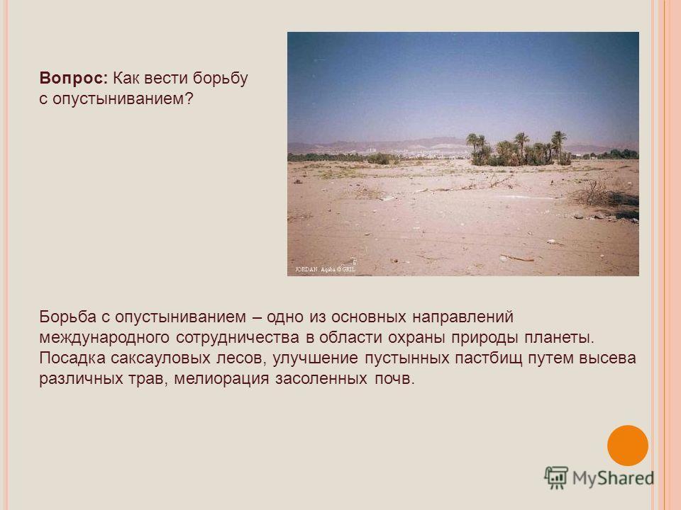 Вопрос: Как вести борьбу с опустыниванием? Борьба с опустыниванием – одно из основных направлений международного сотрудничества в области охраны природы планеты. Посадка саксауловых лесов, улучшение пустынных пастбищ путем высева различных трав, мели