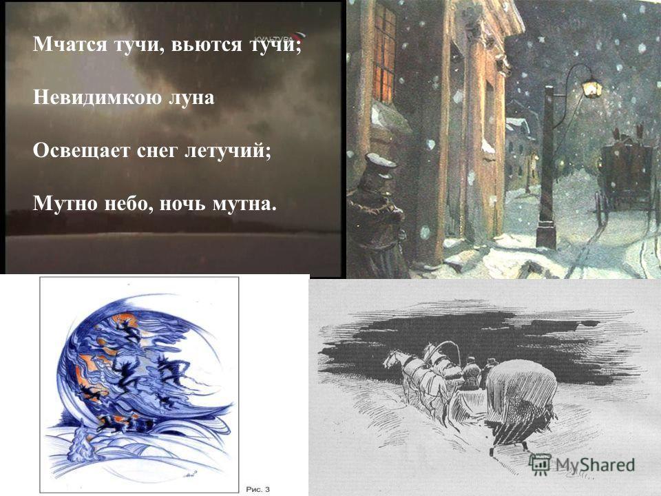 Мчатся тучи, вьются тучи ; Невидимкою луна Освещает снег летучий ; Мутно небо, ночь мутна.