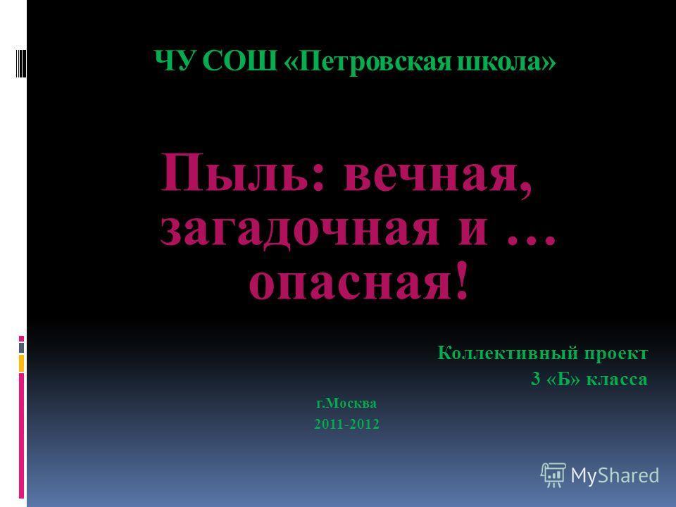 ЧУ СОШ «Петровская школа» Пыль: вечная, загадочная и … опасная! Коллективный проект 3 «Б» класса г.Москва 2011-2012