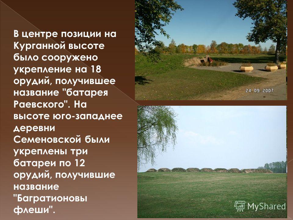 В центре позиции на Курганной высоте было сооружено укрепление на 18 орудий, получившее название батарея Раевского. На высоте юго-западнее деревни Семеновской были укреплены три батареи по 12 орудий, получившие название Багратионовы флеши.