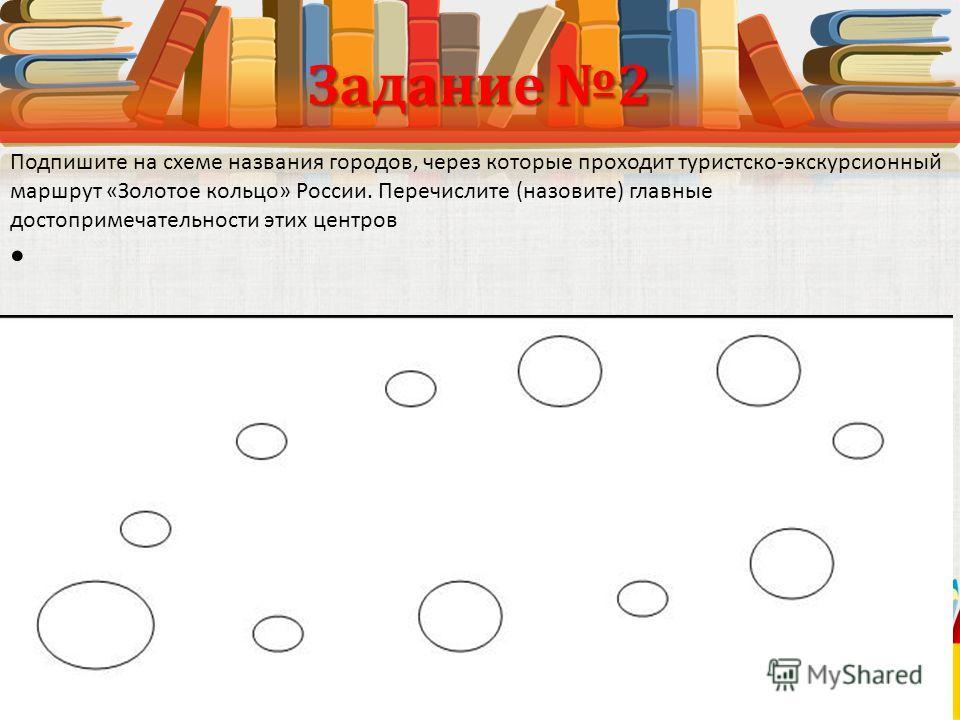 Задание 2 Подпишите на схеме названия городов, через которые проходит туристско-экскурсионный маршрут «Золотое кольцо» России. Перечислите (назовите) главные достопримечательности этих центров