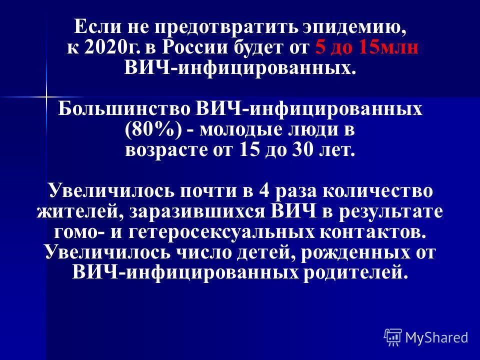 Если не предотвратить эпидемию, к 2020г. в России будет от 5 до 15млн ВИЧ-инфицированных. Большинство ВИЧ-инфицированных (80%) - молодые люди в возрасте от 15 до 30 лет. Увеличилось почти в 4 раза количество жителей, заразившихся ВИЧ в результате гом