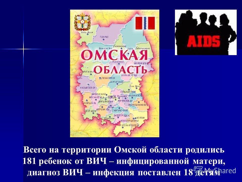 Всего на территории Омской области родились 181 ребенок от ВИЧ – инфицированной матери, диагноз ВИЧ – инфекция поставлен 18 детям