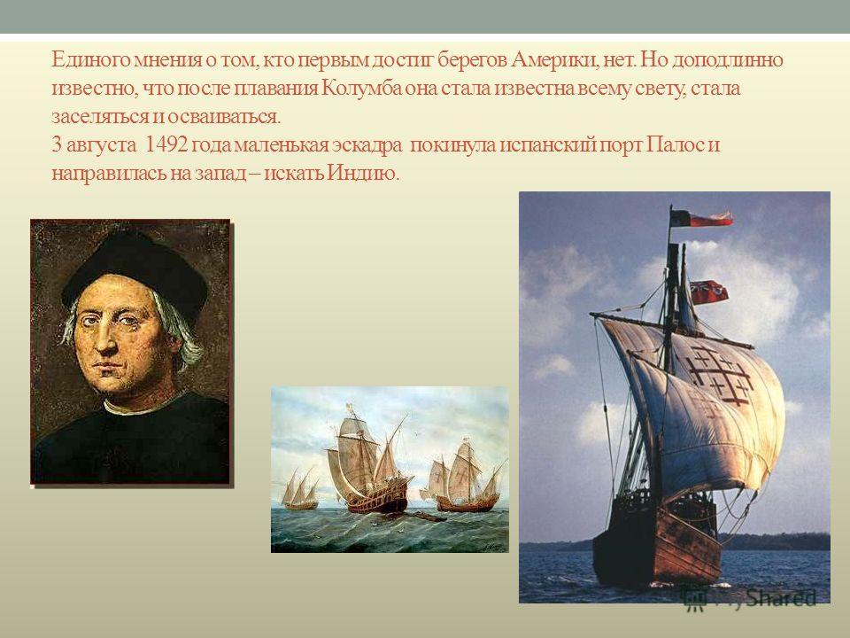 Единого мнения о том, кто первым достиг берегов Америки, нет. Но доподлинно известно, что после плавания Колумба она стала известна всему свету, стала заселяться и осваиваться. 3 августа 1492 года маленькая эскадра покинула испанский порт Палос и нап