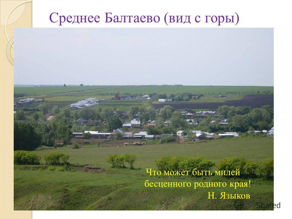 Что может быть милей бесценного родного края! Н. Языков Среднее Балтаево (вид с горы)