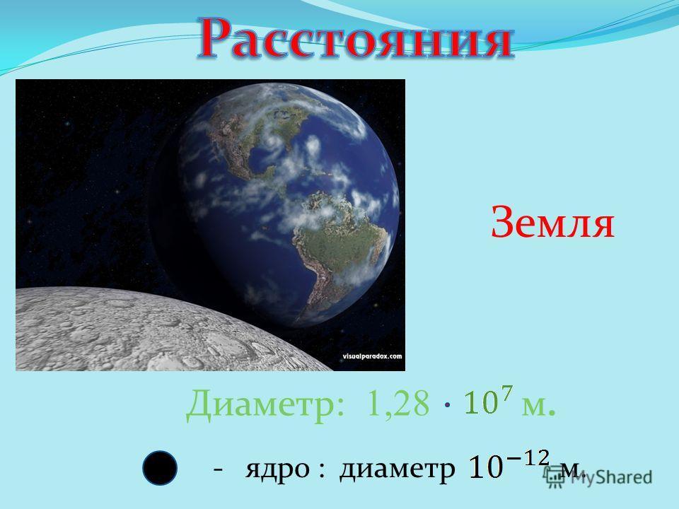 - ядро : диаметр м. Диаметр: 1,28 м. Земля