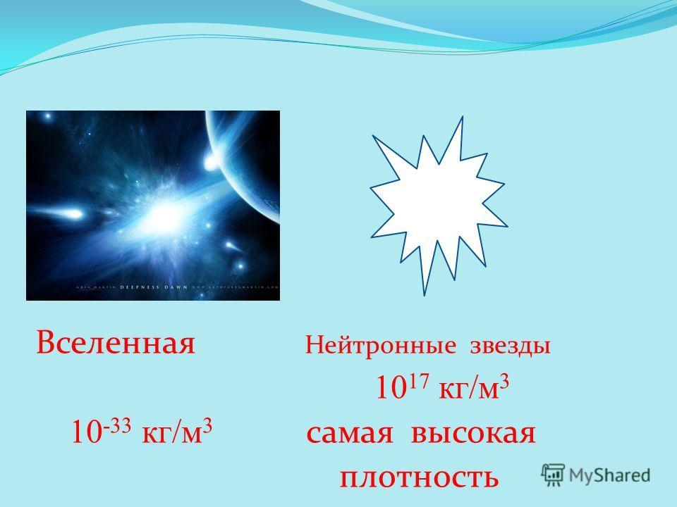 Вселенная Нейтронные звезды 10 17 кг/м 3 10 -33 кг/м 3 самая высокая плотность