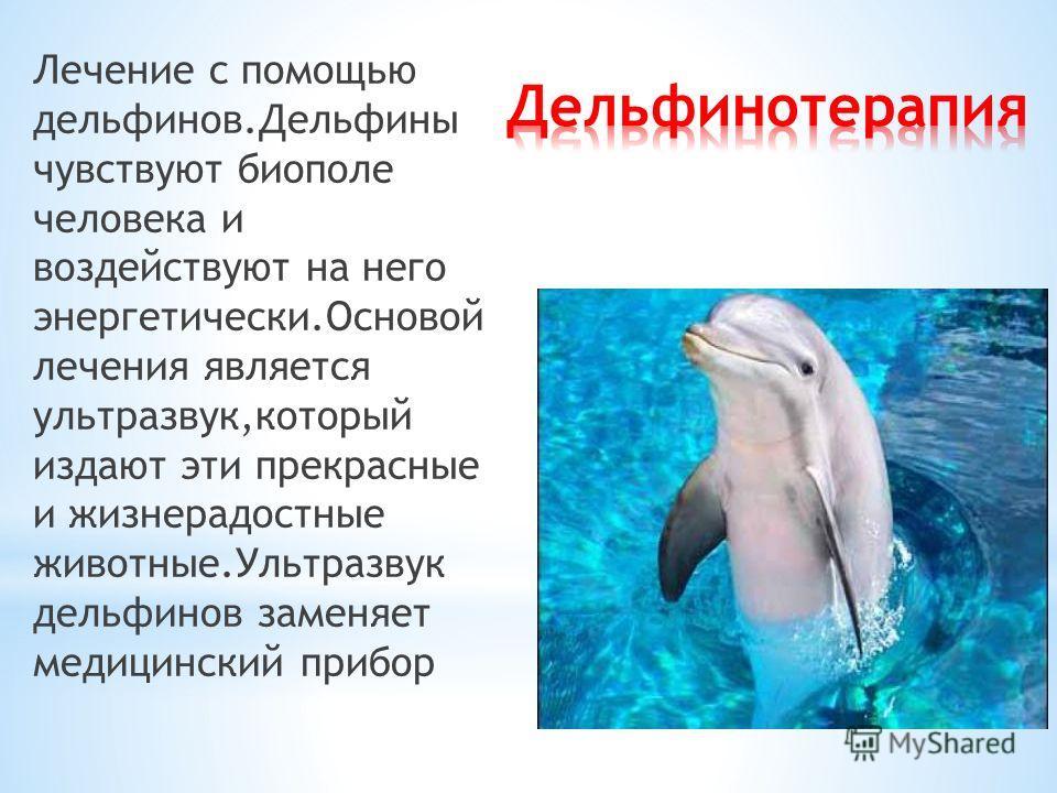 Лечение с помощью дельфинов.Дельфины чувствуют биополе человека и воздействуют на него энергетически.Основой лечения является ультразвук,который издают эти прекрасные и жизнерадостные животные.Ультразвук дельфинов заменяет медицинский прибор