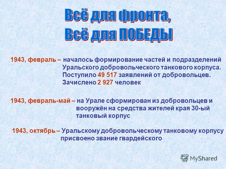 1943, февраль – началось формирование частей и подразделений Уральского добровольческого танкового корпуса. Поступило 49 517 заявлений от добровольцев. Зачислено 2 927 человек 1943, октябрь – Уральскому добровольческому танковому корпусу присвоено зв