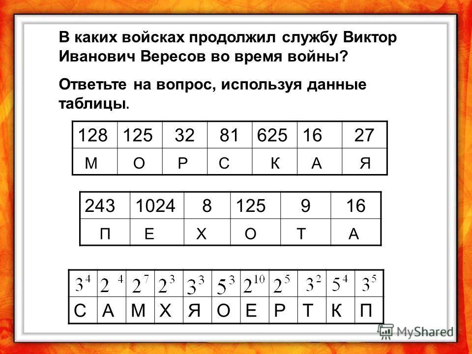 В каких войсках продолжил службу Виктор Иванович Вересов во время войны? Ответьте на вопрос, используя данные таблицы. 12812532816251627 24310248125916 САМХЯОЕРТКП МОРСКАЯ ПЕХОТА