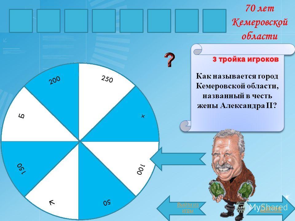 МАРИИ Как называется город Кемеровской области, названный в честь жены Александра II? Далее НСК Б 250 200 150 50 100 + Выйти из игры 70 лет Кемеровской области