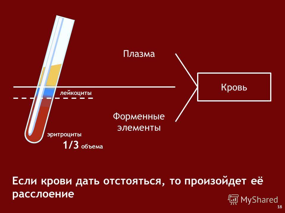 Кровь Плазма Форменные элементы Если крови дать отстояться, то произойдет её расслоение эритроциты лейкоциты 1/3 объема 18