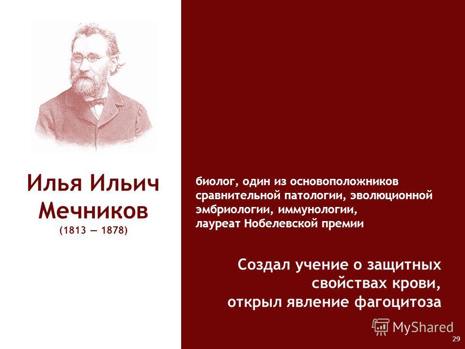 Илья Ильич Мечников (1813 1878) биолог, один из основоположников сравнительной патологии, эволюционной эмбриологии, иммунологии, лауреат Нобелевской премии Создал учение о защитных свойствах крови, открыл явление фагоцитоза 29