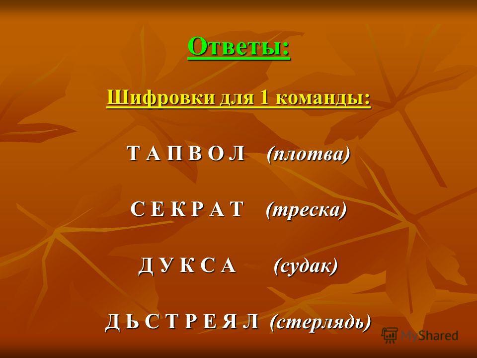Ответы: Шифровки для 1 команды: Т А П В О Л (плотва) С Е К Р А Т (треска) Д У К С А (судак) Д Ь С Т Р Е Я Л (стерлядь)
