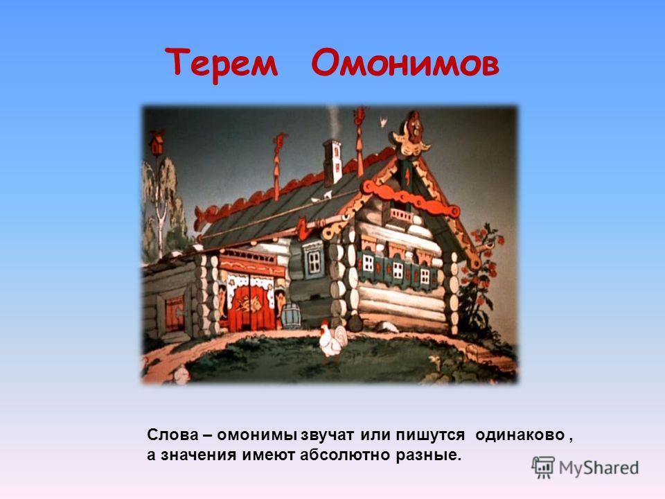 Терем Омонимов Слова – омонимы звучат или пишутся одинаково, а значения имеют абсолютно разные.