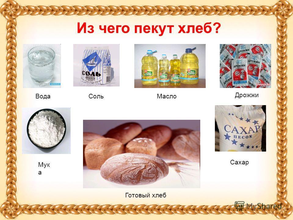 Из чего пекут хлеб? Вода Мук а Соль Дрожжи Масло Сахар Готовый хлеб