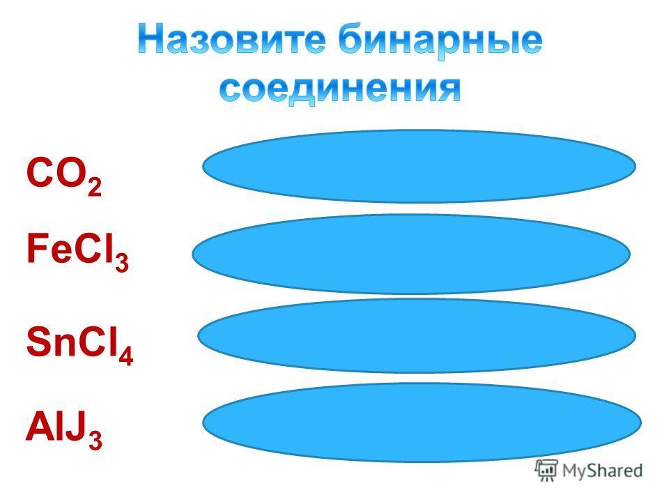 Оксид углерода (IV) Хлорид железа (III) Хлорид олова (IV) Иодид алюминия