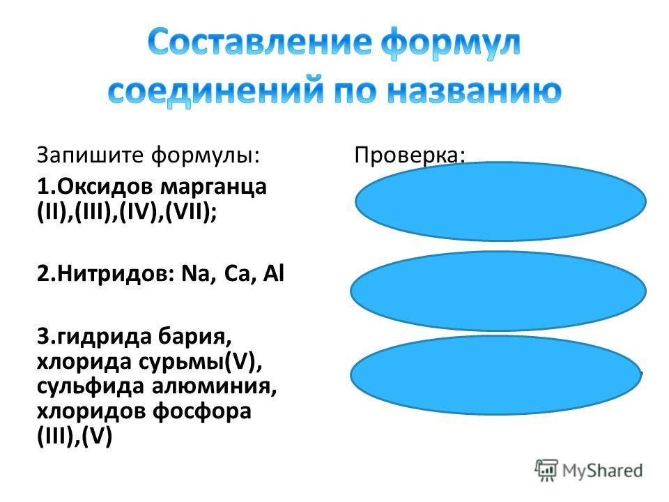 Запишите формулы: 1.Оксидов марганца (II),(III),(IV),(VII); 2.Нитридов: Na, Ca, Al 3.гидрида бария, хлорида сурьмы(V), сульфида алюминия, хлоридов фосфора (III),(V) Проверка: 1. MnO, Mn 2 O 3, MnO 2, Mn 2 O 7 2. Na 3 N, Ca 3 N 2, AlN 3. BaH 2, SbCl 5