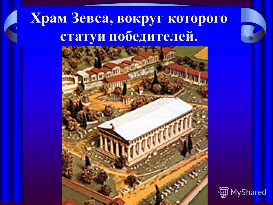 25 Храм Зевса, вокруг которого статуи победителей.