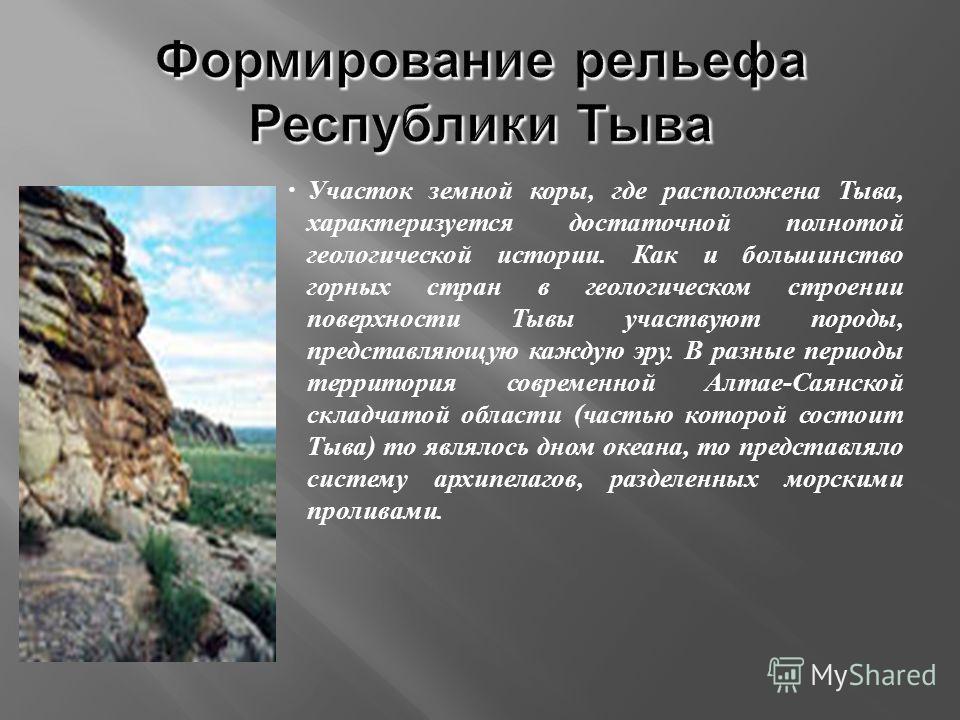 Участок земной коры, где расположена Тыва, характеризуется достаточной полнотой геологической истории. Как и большинство горных стран в геологическом строении поверхности Тывы участвуют породы, представляющую каждую эру. В разные периоды территория с