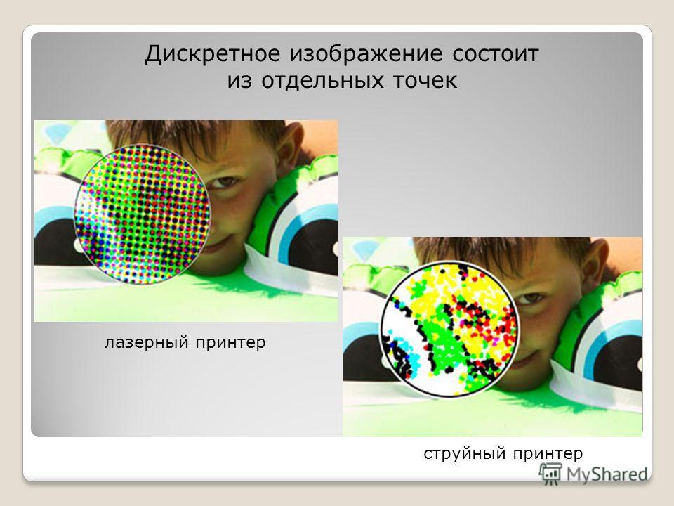Дискретное изображение состоит из отдельных точек лазерный принтер струйный принтер